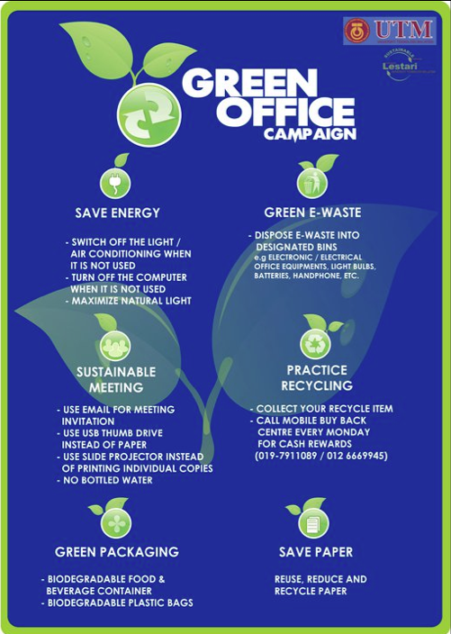 Car To Go >> Green Office Campaign | UTM Official Campaigns Website