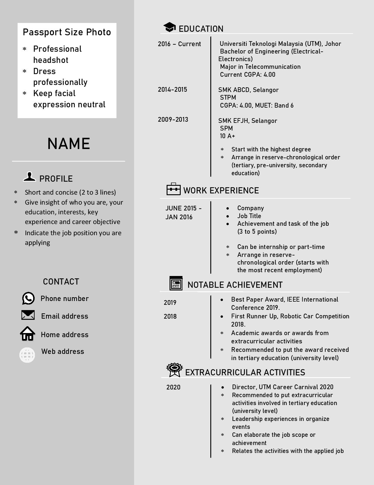 Sample Resume Utm Career Carnival 2020