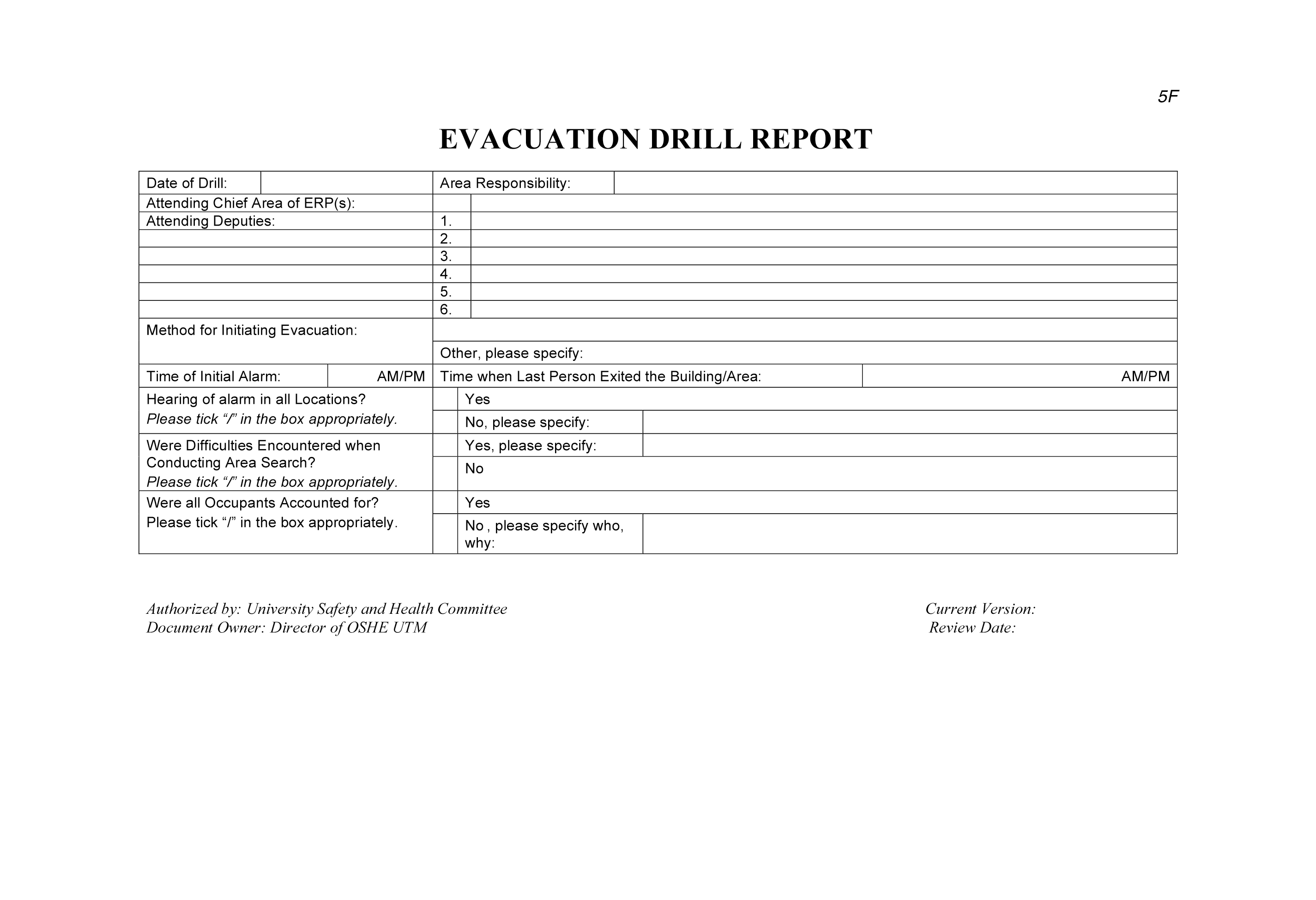 EVACUATION DRILL REPORT | OCCUPATIONAL SAFETY, HEALTH AND ...