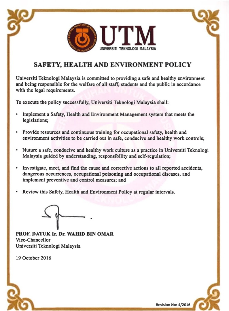 OCCUPATIONAL SAFETY HEALTH AND ENVIRONMENT UNIT OSHE – Sample Health and Safety Policy