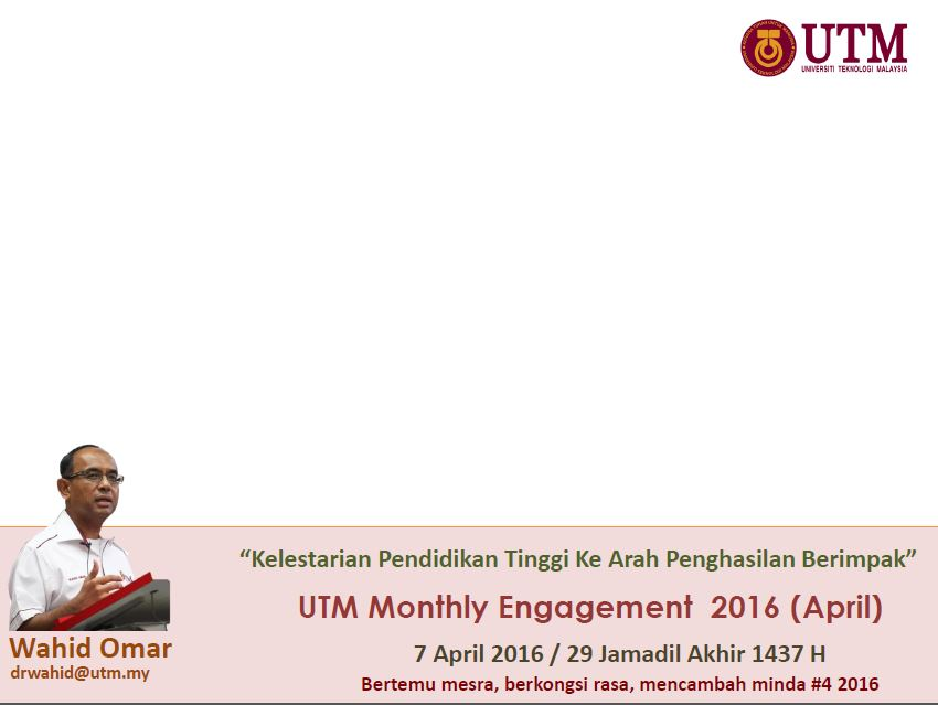 UTM MONTHLY ENGAGEMENT APRIL 2016